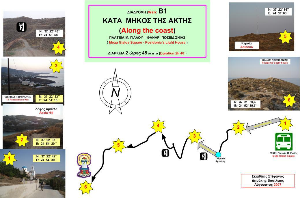 Χάρτης Β1: Μέγα Γυαλός - Φανάρι Ποσειδωνίας